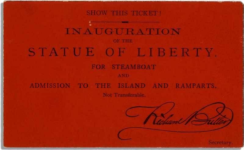 Entrada para la inauguración de la Estatua de la Libertad