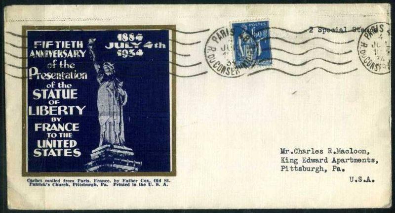 Sobre con la imagen de Miss Liberty