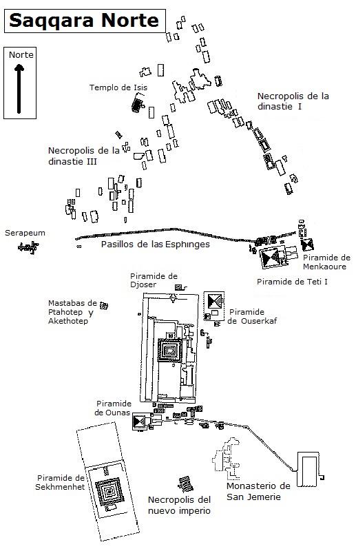 Mapa de Saqqara Norte (Haga clic para ampliar)