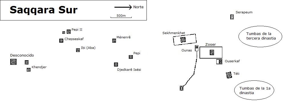 Mapa de Saqqara Sur (Haga clic para ampliar)