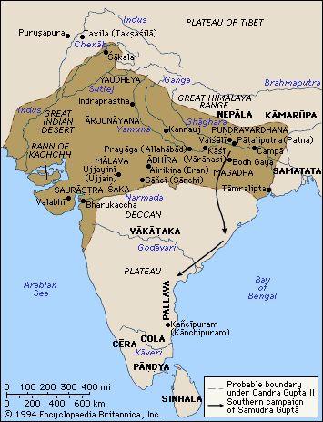 Mapa del Imperio Gupta