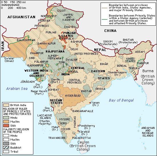 Mapa de la dominación inglesa de la India