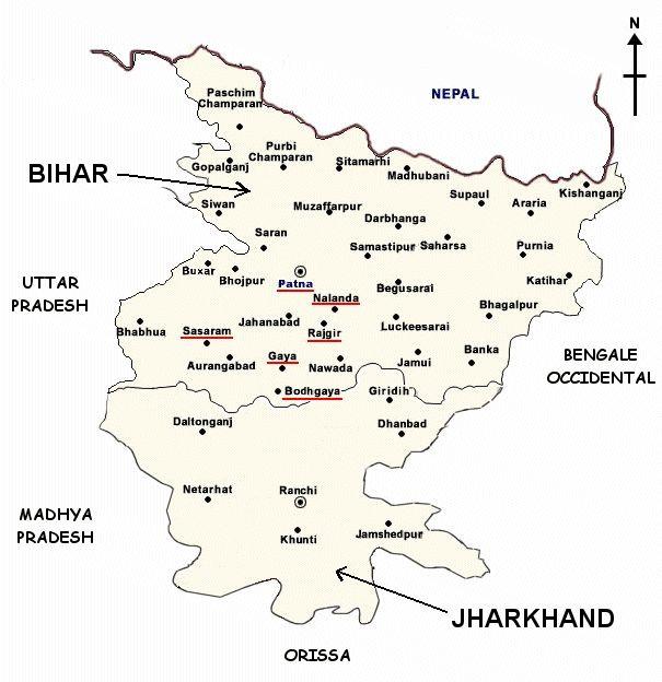 Mapa de Bihar y Jharkhand.