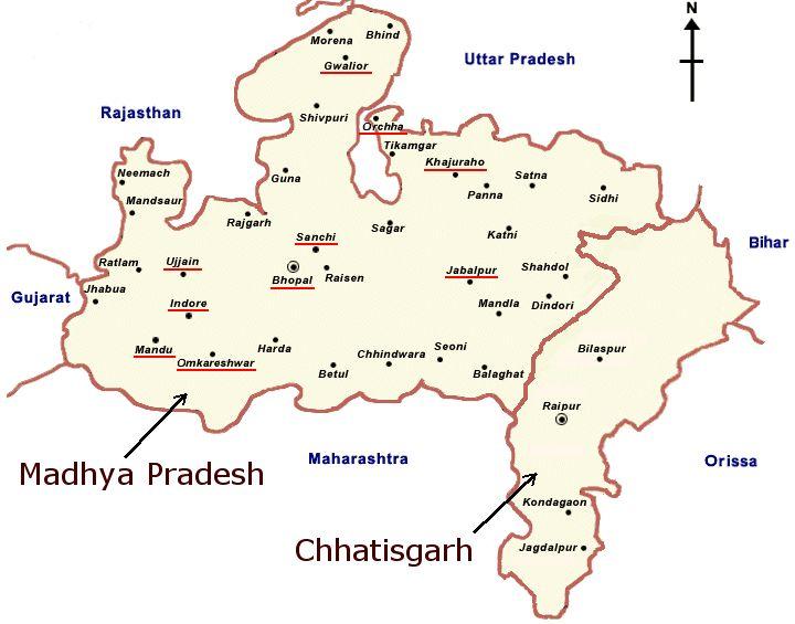 Mapa de Madhya Pradesh y de Chhatisgarh