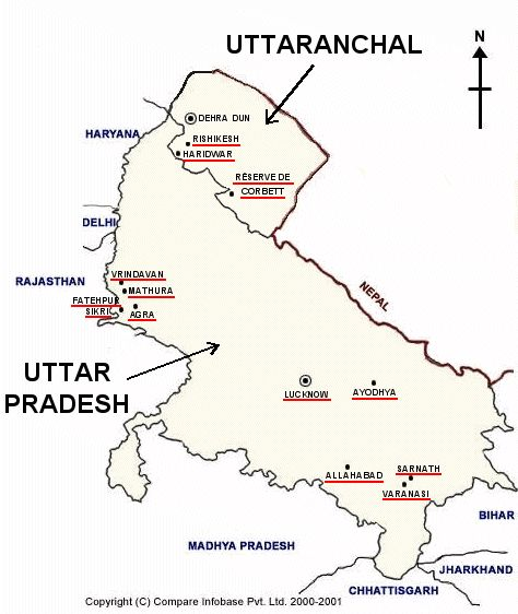 Mapa de Uttar Pradesh y Uttaranchal