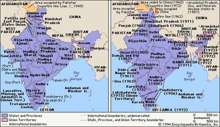 Mapa de la India justo después de la independencia