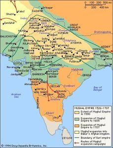 Mapa del imperio mogol