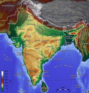 Mapa en relieve de la India