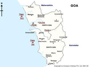 Mapa de la provincia de Goa