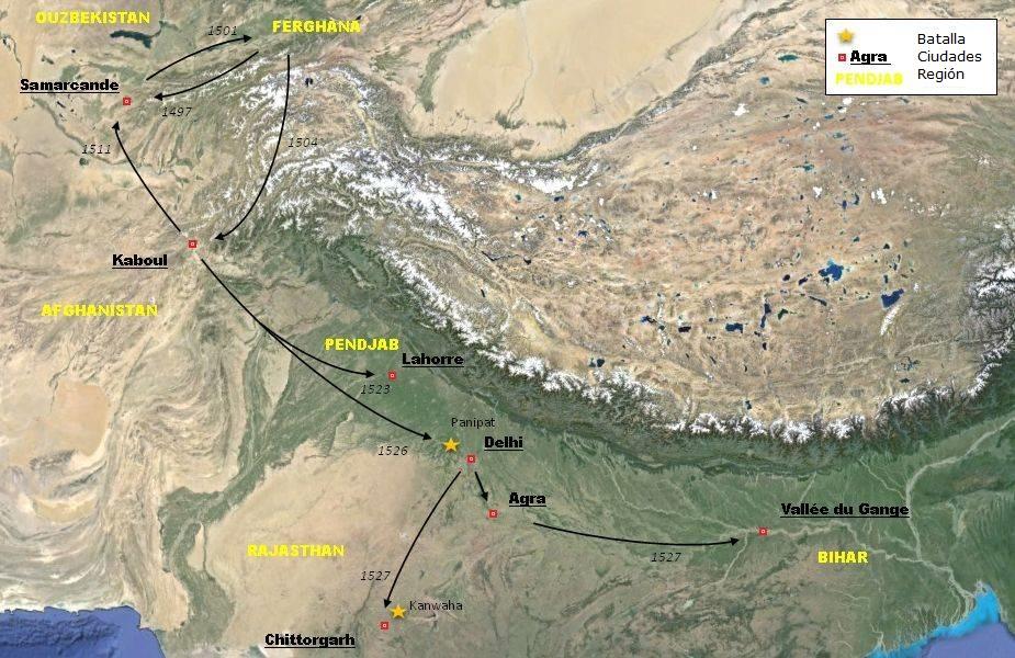 Las conquistas de Babur 1497 a 1527.