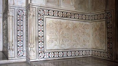 Las decoraciones del Taj Mahal